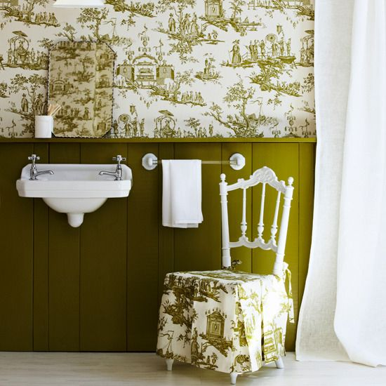 Bathroom Wallcovering French Toile Room Decor Bathroom: 17 Best Images About Green Bathroom Ideas On Pinterest