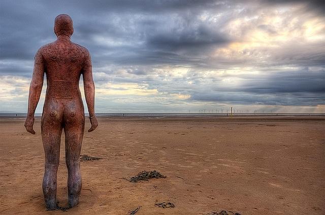 Antony Gormley's statues on Crosby beach, Liverpool -UK