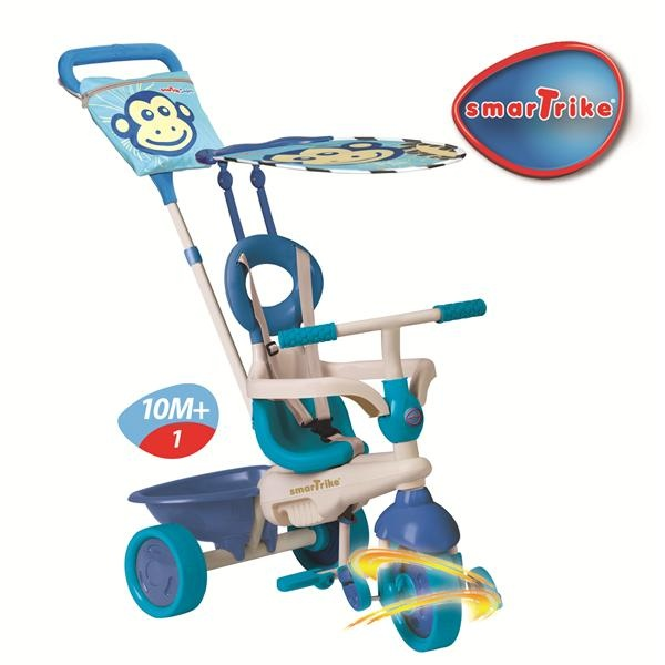 http://idealbebe.ro/smart-trike-tricicleta-safari-in-monkey-touch-steering-p-14635.html  - Tricicleta construita integral din metal    - Bara siguranta detasabila, centura de siguranta, scaun cu spatar inalt