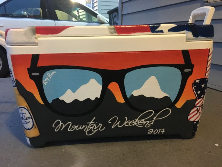 Mountain weekend sunglasses painted cooler