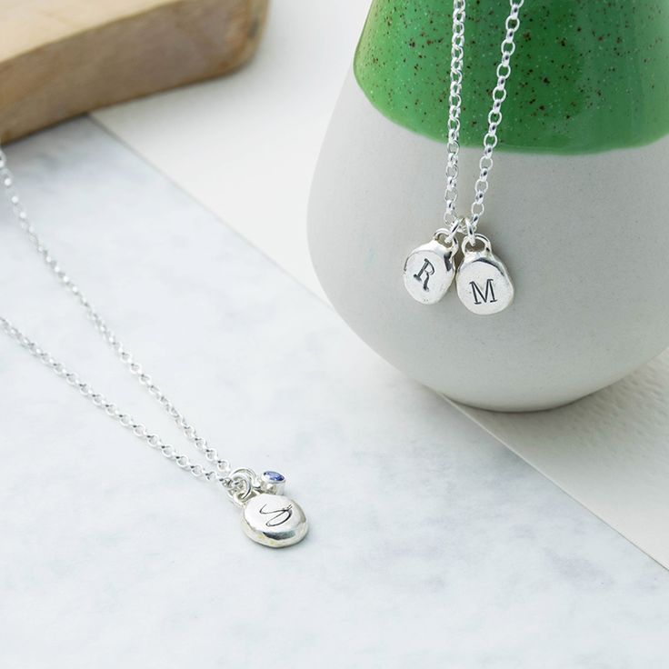 Sterling Silver Pebble Charm Necklace  Initial Silver Necklace Hand Stamped