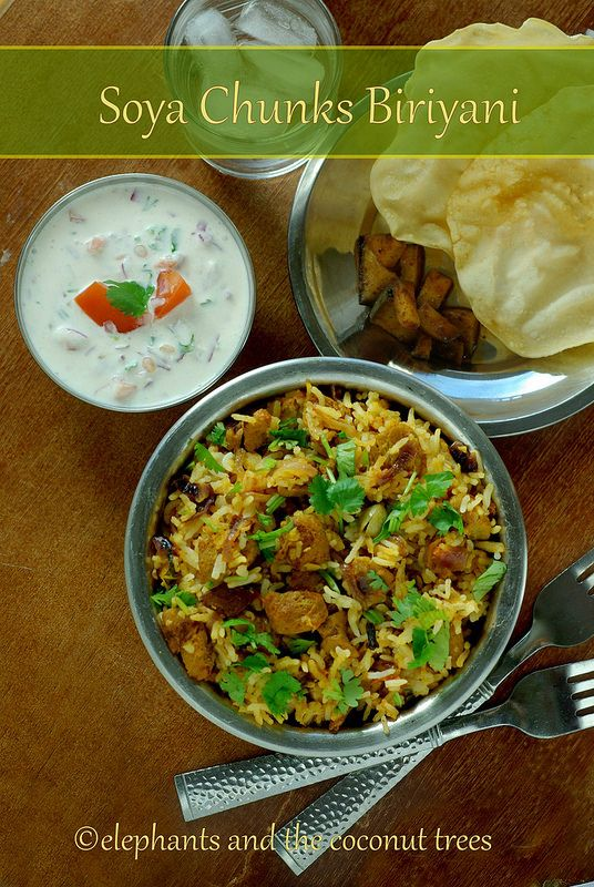 elephants and the coconut trees: Soya Chunks Biriyani / Rice cooker Soya Chunks Biriyani / Vegetarian Biriyani