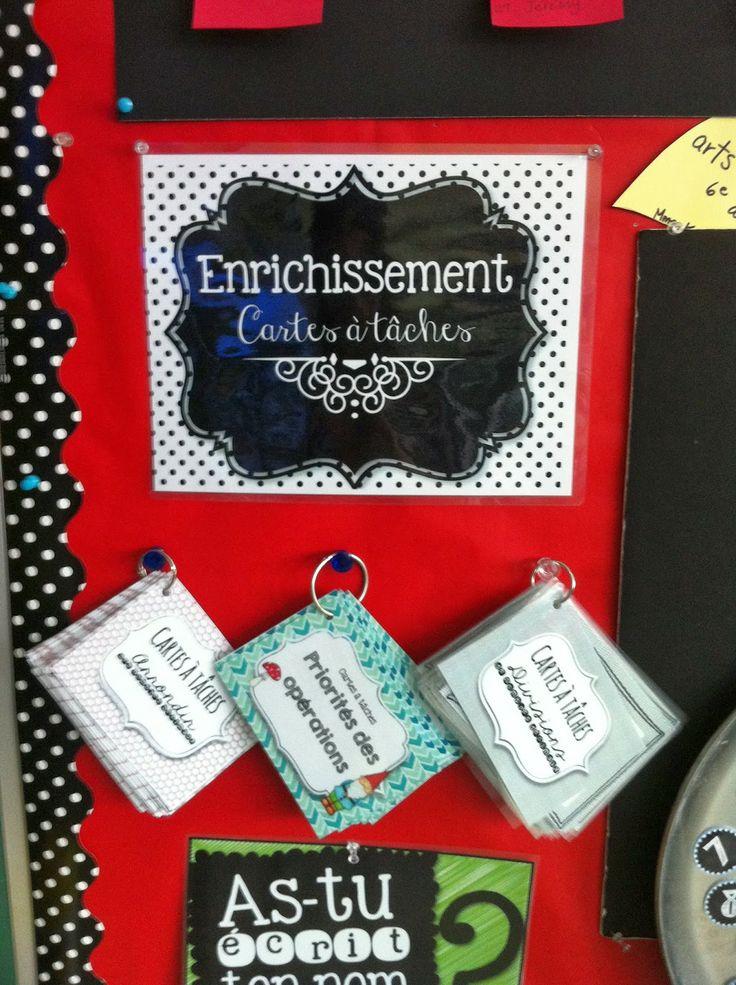 French classroom organization tip: setting up a task card corner. Un centre d'enrichissement - cartes à tâches