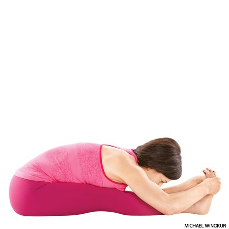 Fold into Paschimottanasana (Seated Forward Bend) to help a distracted mind—and your hamstrings—unwind.