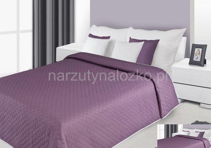 Dwustronna fioletowa narzuta na łóżko