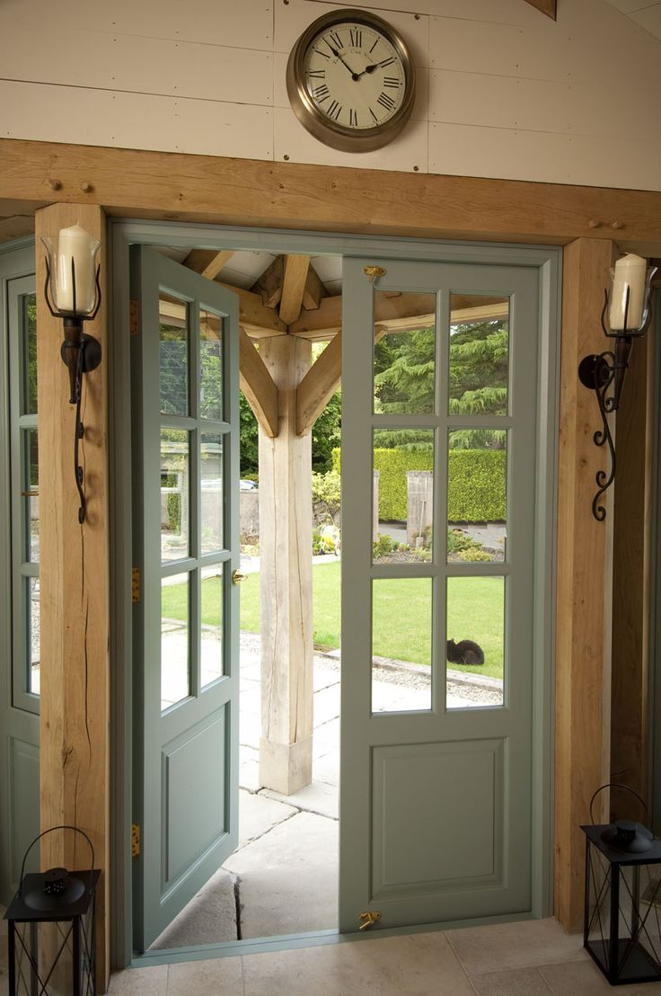 17 best images about post and beam living on pinterest for Green french doors