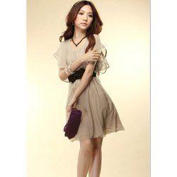 $6.91 Refreshing Scoop Neck Flouncing Short Sleeves High Waist Sweet Chiffon Dress For Women