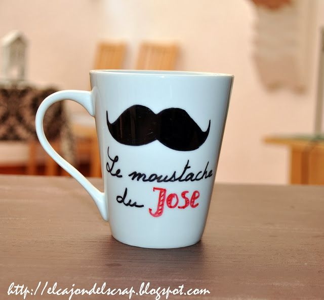 Tazas pintadas a mano/ painted mug with moustache