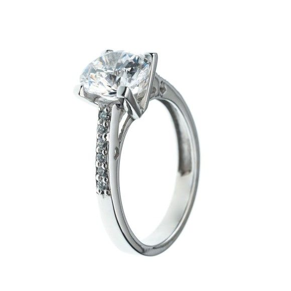 Awesome  Kt White gold four prong round diamond engagement rings with smaller diamonds