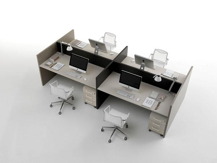 Scrivania Basic Desk by DOIMOffice. Le molteplici soluzioni compositive sviluppano risposte organizzative del lavoro anche le più articolate, sfruttando la versatilità costruttiva dei materiali usati come i fianchi ciechi e gli schermi condivisi per le postazioni multiple.