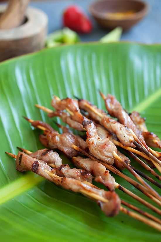 Pork Satay with Sweet Coconut Milk Glaze | http://rasamalaysia.com