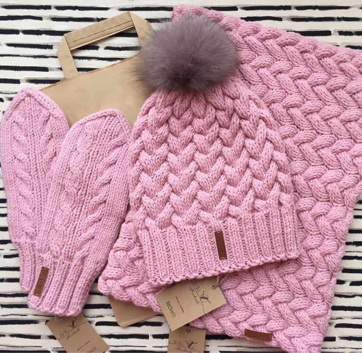 Купить Комплект шапка+снуд+варежки - шапка, варежки, снуд, снуд вязаный, снуд женский