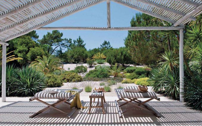 """A view of the garden. """"About an hour south of Lisbon lies Comporta, a quiet stretch of Portuguese coast that some of the country's oldest families as well as designers like Jacques Grange and Christian Louboutin have turned into their secret summer holiday."""