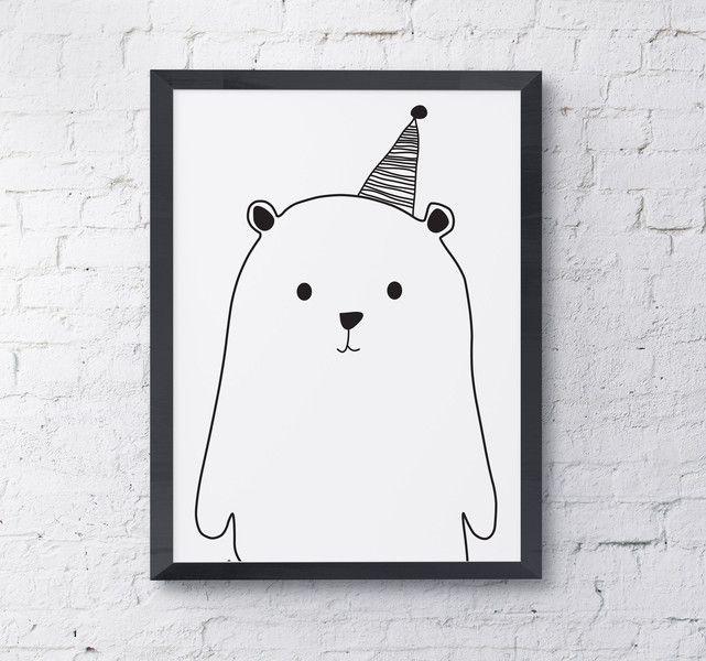Niedźwiedź polarny - Szare-Kropki - Plakaty dla dzieci