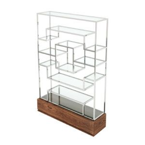 FANCY SHELF | Walnut Furniture | Laskasas | Decorate Life | Shelf with metal structure and glass shelves. The two drawers in the wooden base add a more discreet and useful storage element. A must-have item in your interior design decor.