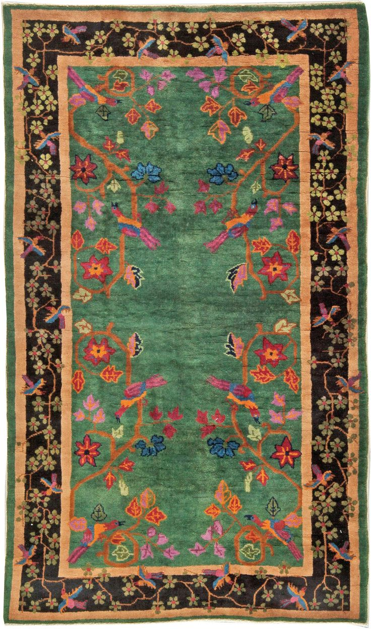 Vintage Rugs: Vintage Rug Art Deco (Chinese)  for modern or oriental interior decor living room, green rug with floral flowers botanical pattern