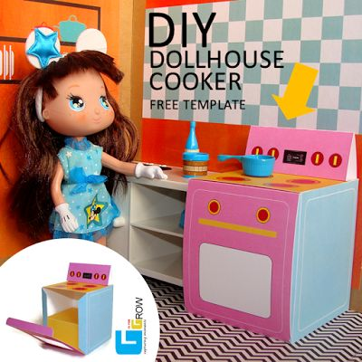 #dollhouse #kitchen #play #freetemplate #diy #cooker #stove #portugal #dollhouses #doll #kit #miniature #toy #house #toplay #babyroom #child #gisforgrow #barriguitas