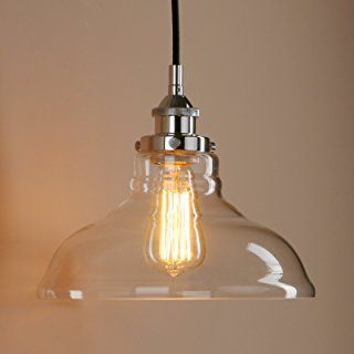 Pathson 11 Inch Clear Glass Shade Retro Indutrial Hanging Pendant Light Fixture (Chrome)