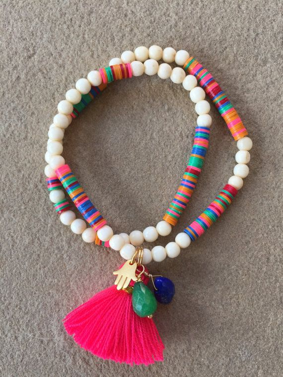 Colorful Tassel Bracelet with Gold Vermeil Hamsa, African Vinyl Disc Beads…
