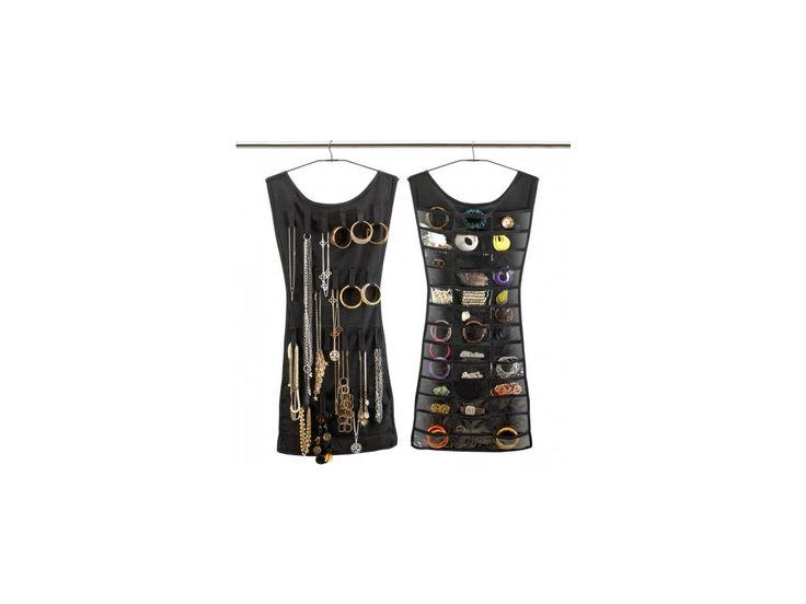 Závěsný organizér na šperky LITTLE DRESS. Obsahuje 24 poutek se suchým zipem a 39 průhledných praktických kapes.