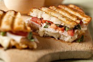 (Huge hit in our house; I used chive/onion cream cheese for spread) Turkey Bruschetta Panini - dinner this week!