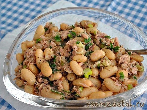 Салат из тунца и белой фасоли