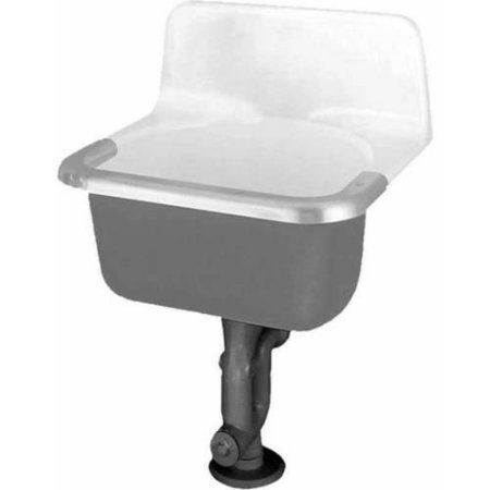 American Standard 7695.000.020 Akron Enamelen Cast Iron Wall Mounted Service Sink with Stainless Steel Rim Guard, White, Clear