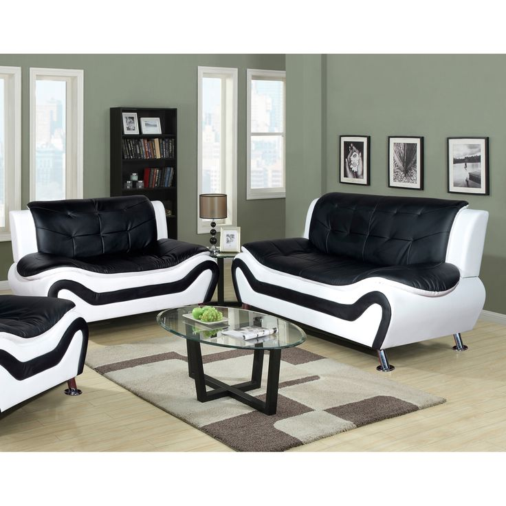 Ceccina 2 Pc Modern Leather Living Room Sofa And Loveseat Set