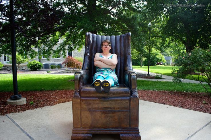 Sitting in a replica of a chair that belonged to the World's Tallest Man #EnjoyIllinois
