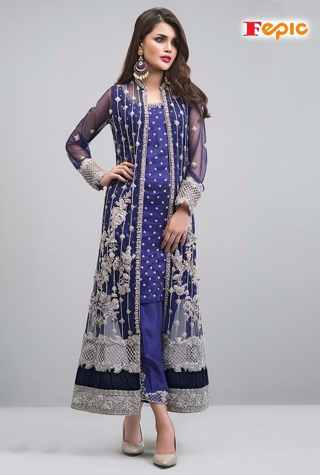eba40f94d1 Fepic Rosemeen Sanober Heavy Designer Georgette with Embroidery work Dress  Material at Wholesale Rate