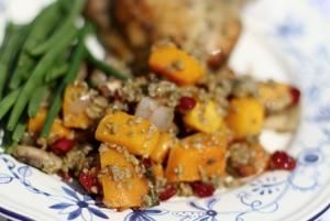 """#Freekeh with Roasted Butternut Squash and Dried Cranberries #recipe.  Freekeh (pronounced """"freek-ah"""") is an ancient grain that has lots of protein, fiber, and vitamins.  It cooks in just 20 min.  Try freekeh in this healthy fall salad. The Whole Grains Council"""