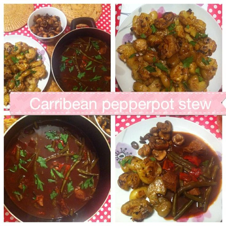 Slimming World: Caribbean pepperpot stew.  Add 800g cubed lean meat to pan, fry till brown. Add 3 cubed red peppers, 300g green beans, 3 crushed garlic, 2 tbsp jerk seasoning, 1 tbsp red wine vinegar, 1/4 tsp sweetener, 400g passata, 400ml beef stock, 2 tbsp Worcester sauce. Season & stir. Cover & cook until meat is tender around 1-2 hours.  Also add 2 sweet potatoes if desired.  Serves 4 - free syns.