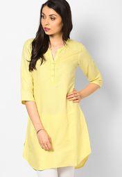 Biba Yellow Cotton Blend Kurti Online Shopping Store