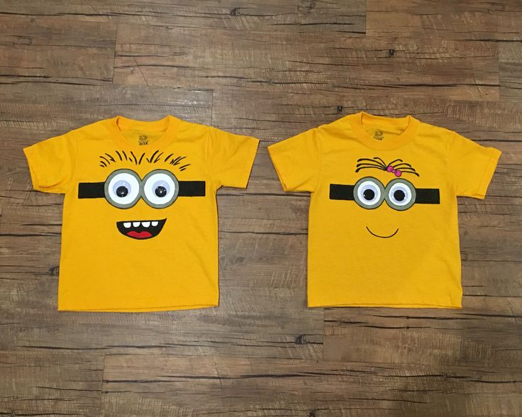 DIY Yellow Minion Shirts for kids. Hand drawn and painted with acrylic paint.