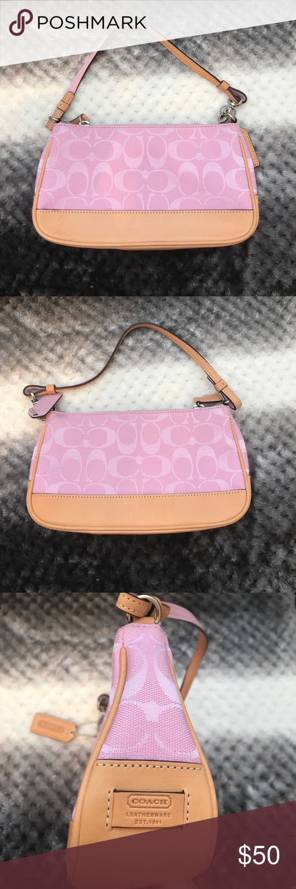 Like new authentic pink Coach purse. Like new authentic signature pink Coach mini purse. Used once for a wedding. Coach Bags Mini Bags