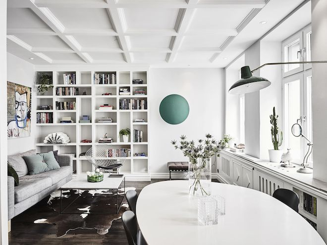 Artfully hidden TV in a lovely Swedish space