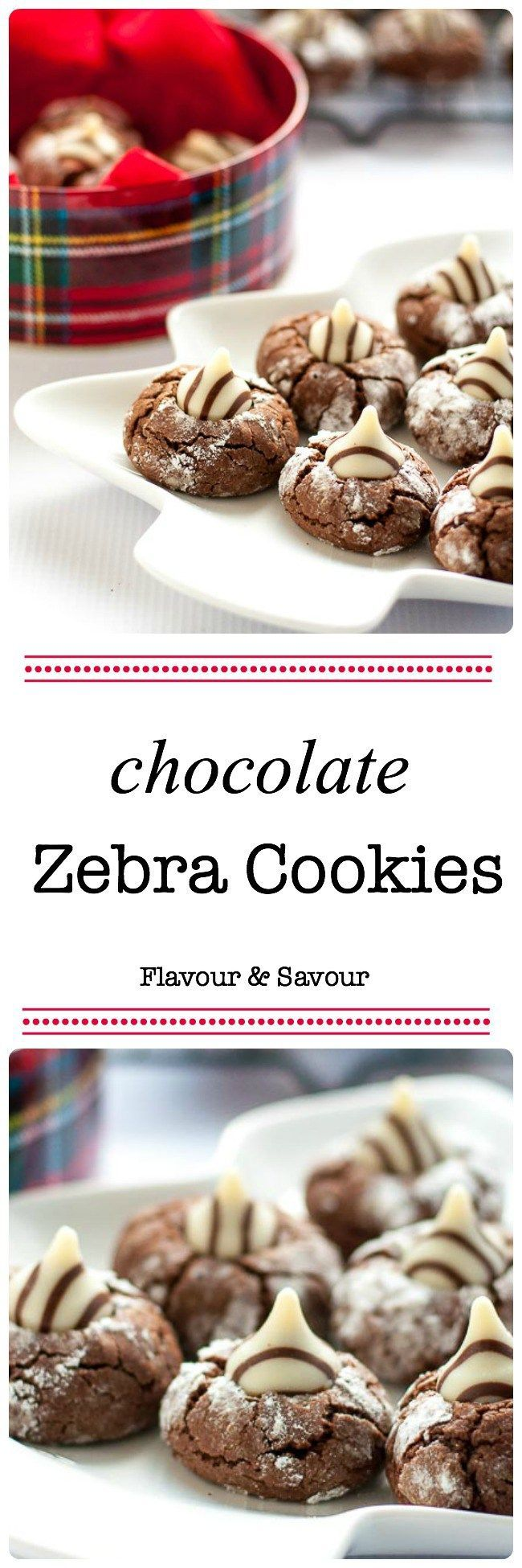 These Zebra cookies are a rich chocolate cookie with a Hershey's kiss pressed in the middle. Always popular!