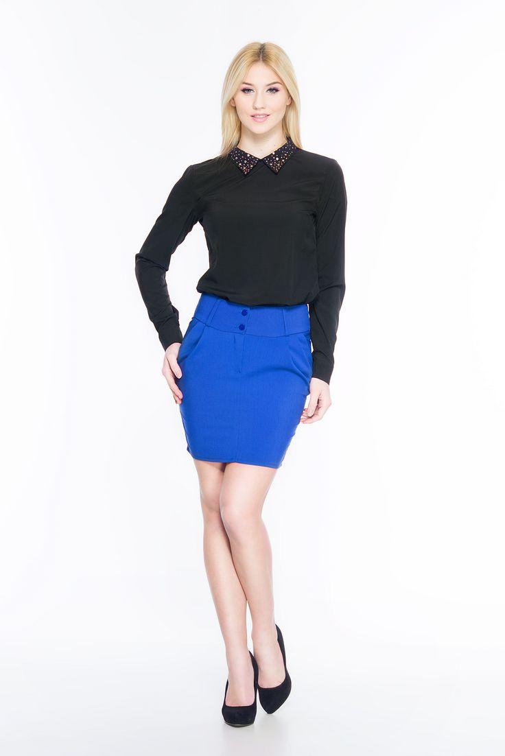 Spódnica z szerokim pasem SL6081BL www.fajne-sukienki.pl