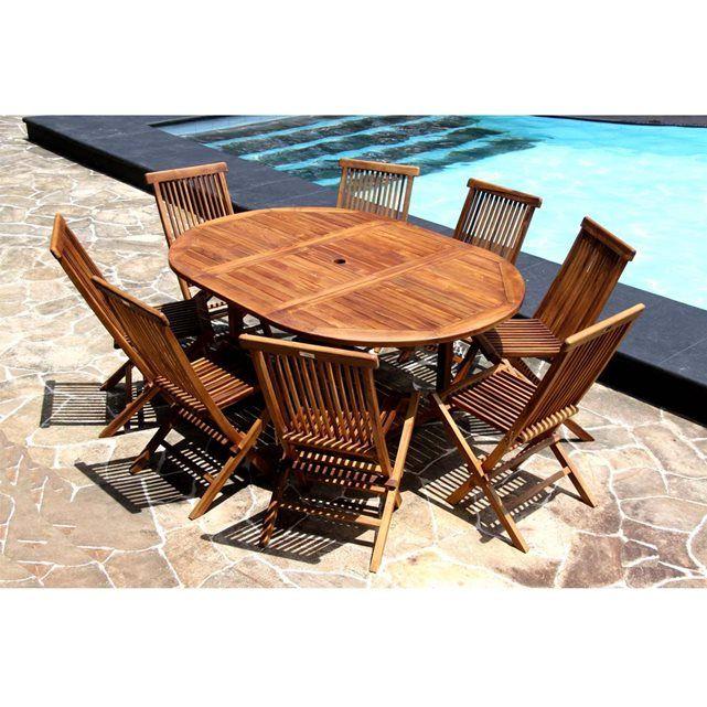 Salon de jardin en Teck Huilé - Table ovale 6/8 personnes + 8 ...
