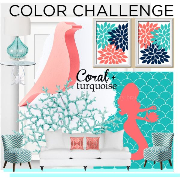 #COLORCHALLENGE by anneanton on Polyvore featuring interior, interiors, interior design, home, home decor, interior decorating, Surya, Williams-Sonoma, colorchallenge and coralandturquoise