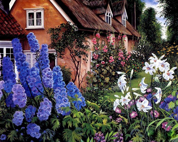 Susan Rios (b.1950) — Blue Delphiniums   (1280×1024)