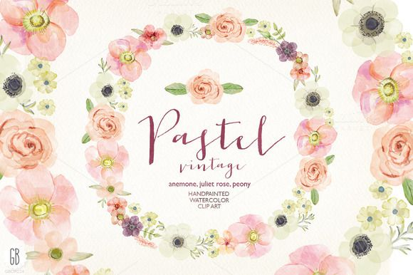 Watercolor pastel wreath juliet rose by GrafikBoutique on Creative Market