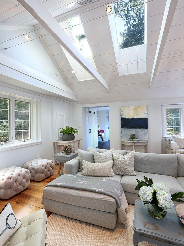 The Skylights Simply Framed In Shiplap Boards Flood The Room With Light Skylight Farmhouse Skylights Modern Farmhouse Bedroom