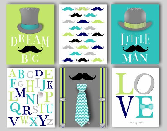 Little Man Nursery Bedding Decor Mustache by inkspotsgallery