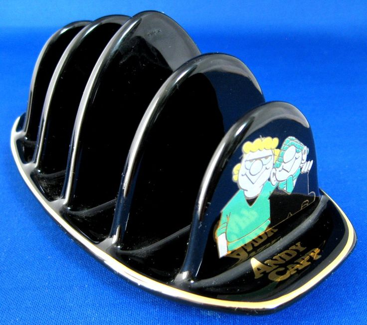 Andy Capp And Flo Toast Rack Wade, England Black Gold 4 Slice 1997 Comic Strip Characters