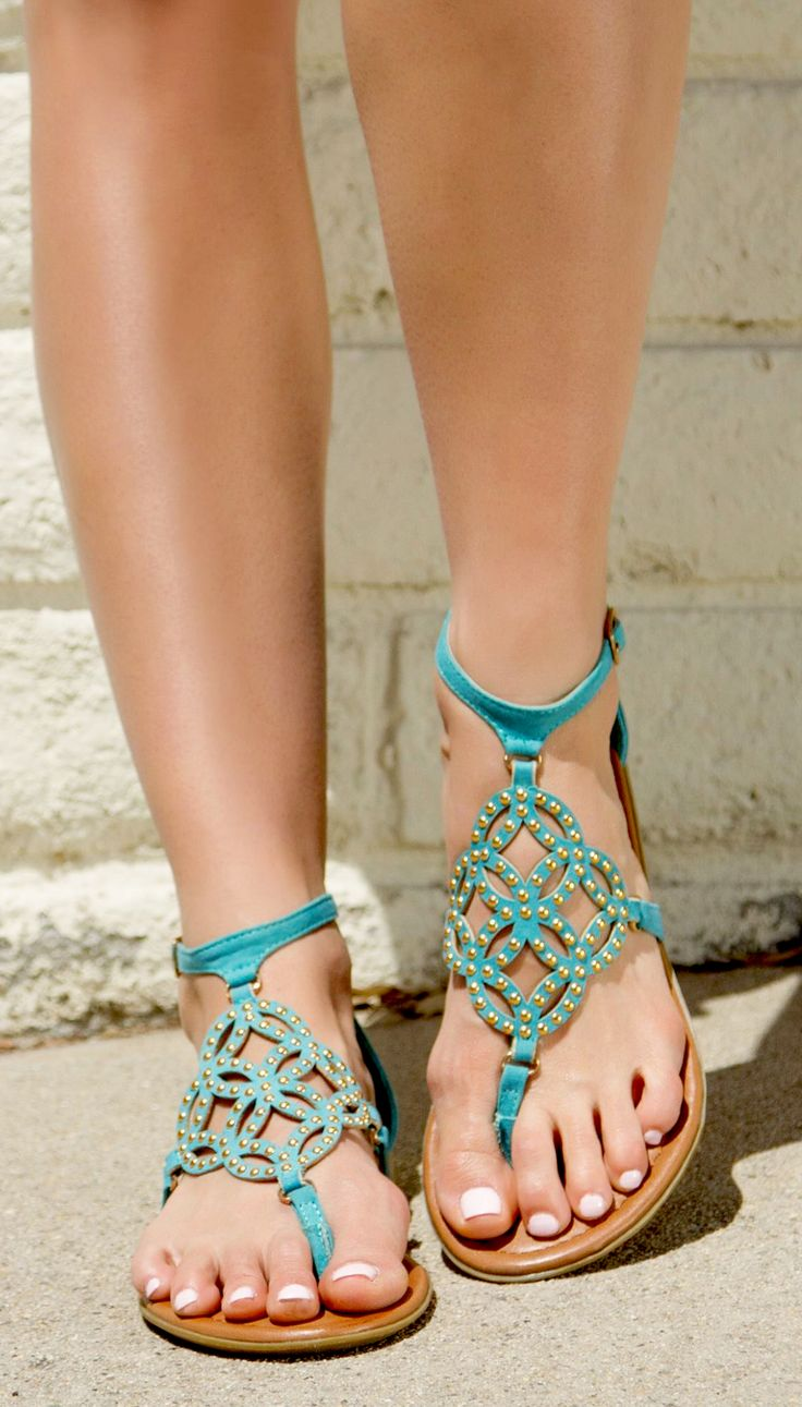 Teal studded sandals