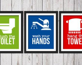 Stampe d'arte del bagno bambini, bagno, bambini bagno Decor, bagno regole per bambini, bambini bagno arte, stampa artistica bagno, lavaggio Flush Hang
