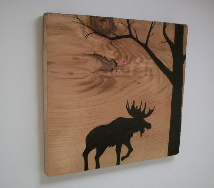 Moose Silhouette in Forest on Reclaimed 1900's Barn Wood. $20.00, via Etsy.