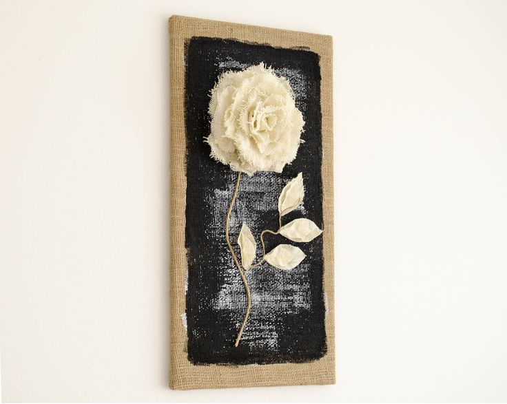 Burlap Canvas, Burlap picture, Ivory sparkling Burlap flower, Rustic home decor,  Wall Decor, Burlap Art, Burlap Wall Art,  3D rose by eliseshope on Etsy