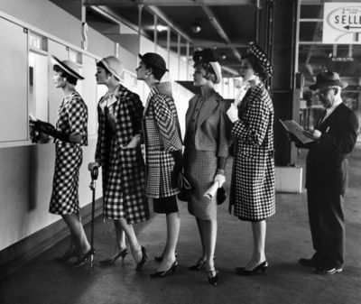 50s fashion consisted of endless patterns. A woman often wore a knee length skirt with a suit jacket or a dress, and of course heels.  Google Image Result for http://25.media.tumblr.com/tumblr_lx2oceySUK1qleo4jo1_400.jpg